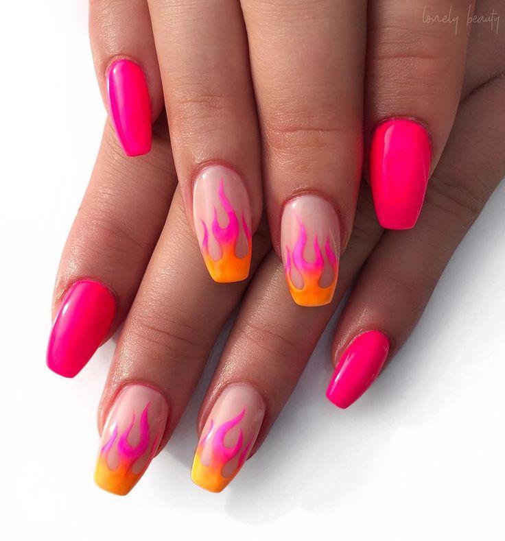 Neon Nails Art Neon Nail Designs For Light And Dark Skin Nail Shapes In 2020 Neon Pink Nails Neon Nail Designs Pink Nails