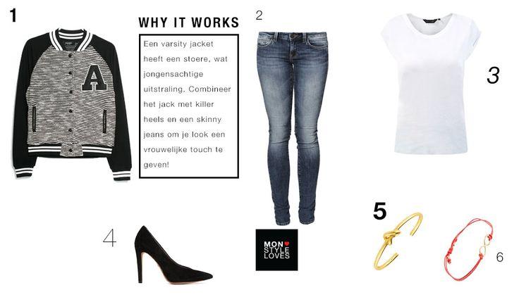 Varisity jacket, Mango, Mavi jeans, New Look t-shirt, Whistles heels, Sophie by Sophie bracelet, Made bracelet, inspiration