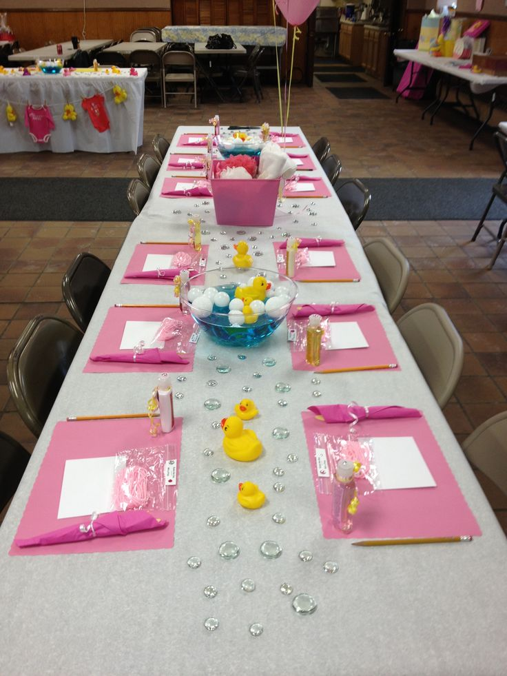 Baby Shower Decorations Pink And Yellow ~ Baby shower table decorations rubber ducks pink trista
