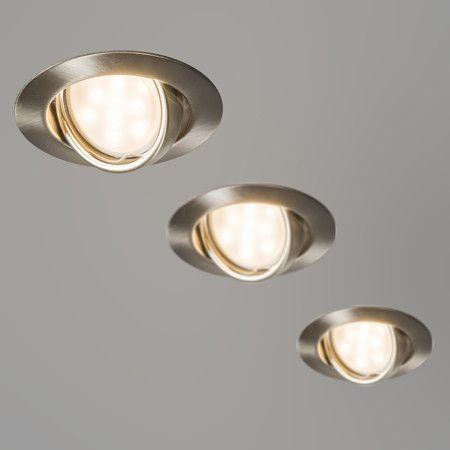 3 Focos empotrables LED EDO orientables acero - Set de tres focos empotrables de fácil instalación. Diseño neutro y discreto. Los tres focos son orientables e incluyen bombillas LED.