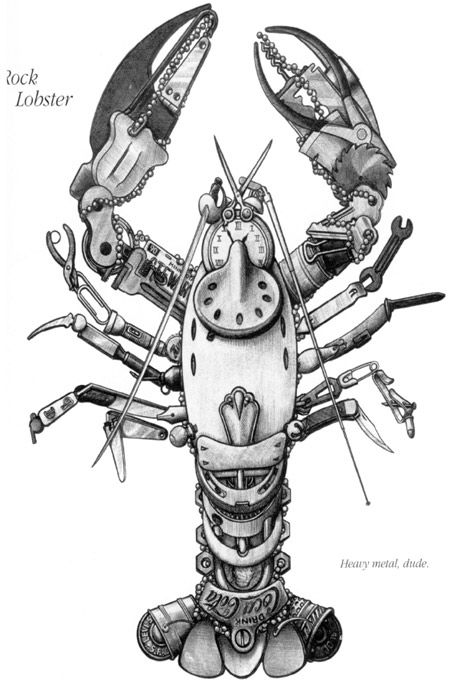 A Lobster made out of inanimate objects. Thinking this might be fun to try as a project or sketchbook idea!