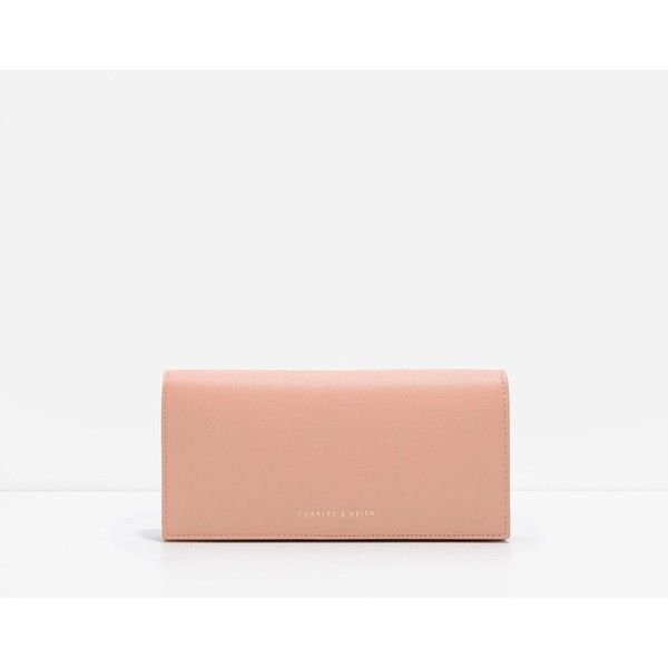 CHARLES & KEITH Classic Long Wallet ($39) ❤ liked on Polyvore featuring bags, wallets, pink, snap bag, coin bag, charles keith bag, snap wallet and white bags