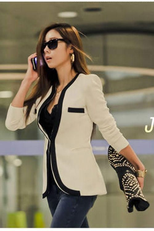 White Premium Collarless Blazer with Contrast Panelled Detailing – $25.89  #womensclothing #sophisticatedwomen