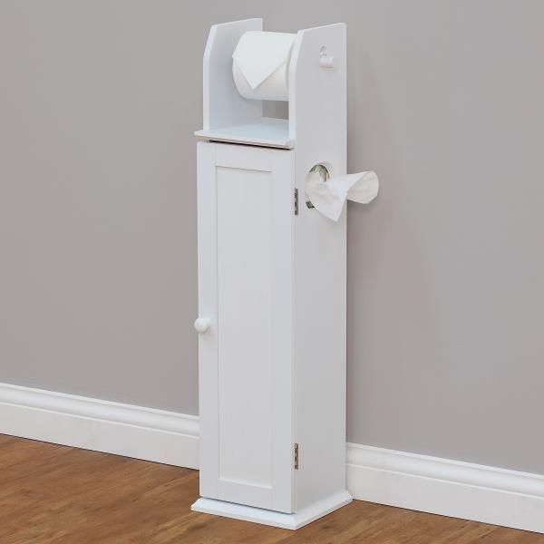 Wooden free standing toilet roll holder freestanding stand for Loo roll storage