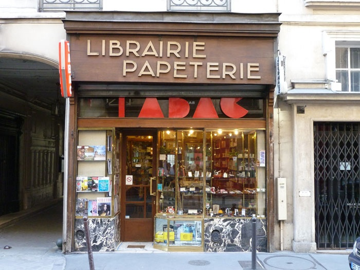 Librairie Papeterie, tabac et les journaux! in Paris on Rue des St. Peres... the marble base of the storefront is eyecatching...