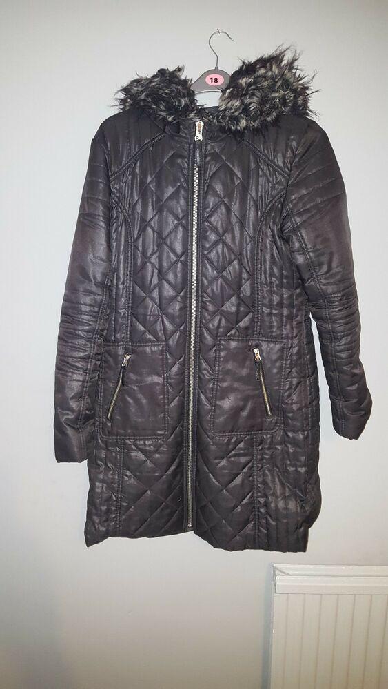 bb5cef7692c River Island Black Parker Coat Fur Hood Size 18  fashion  clothing  shoes