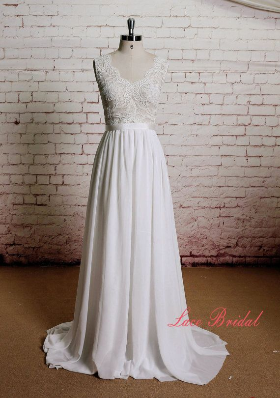 Sheer Ivory Lace Bodice Wedding Dress with A-line Chiffon Skirt  1.As always, Custom Made(your own size, your preferred color). 2.I…