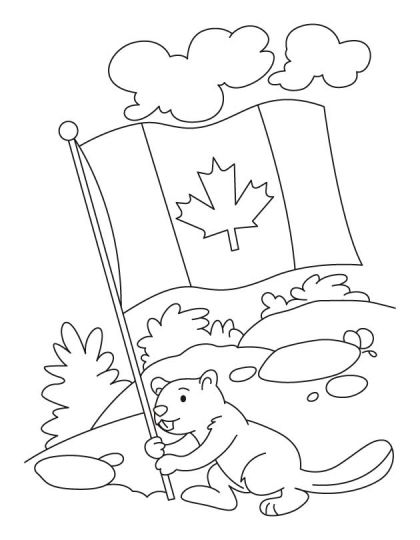 Happy beaver celebrating the Canada day coloring pages(1 Juillet, Fête)