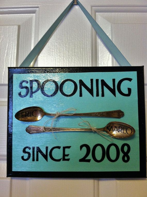 Upcycled Spooning Canvas design 1 .. Great wedding or anniversary gift.. GiFt for her... Gift for mom..Customized with names..