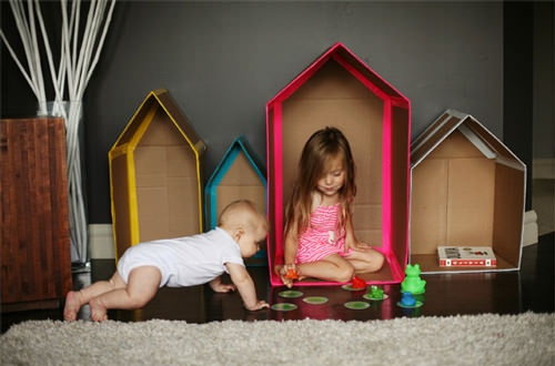 DIY Fun For Little Ones  the new cardboard box house