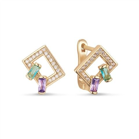 Color CZ Square Earring