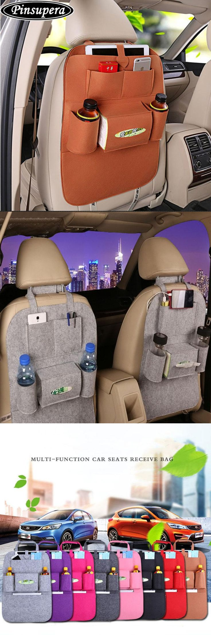 [Visit to Buy] Car Trunk Organizer Sundries Holder Multi-Pocket Travel Storage Bag Hanger Car Covers Seat Organizer in The Trunk Seat Back Bag #Advertisement