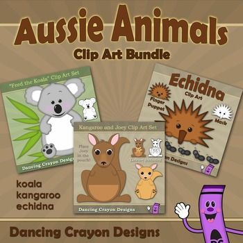 Australian animal clip art bundle: Kangaroo, koala, echidna.  Create your own teaching games and resources. $