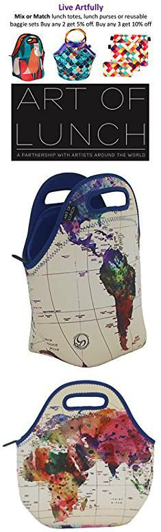 """Art Tote Bags. Neoprene Lunch Bag by ART OF LUNCH - Large [12"""" x 12"""" x 6.5""""] Gourmet Insulating Lunch Tote - All Proceeds Go to Support the World Summit - Design by Mark Ashkenazi (Israel) - World Map.  #art #tote #bags #arttote #totebags"""