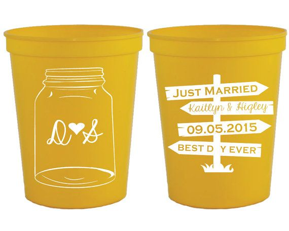 Wedding Cups Mason Jar Wedding Cups Rustic Party by SipHipHooray