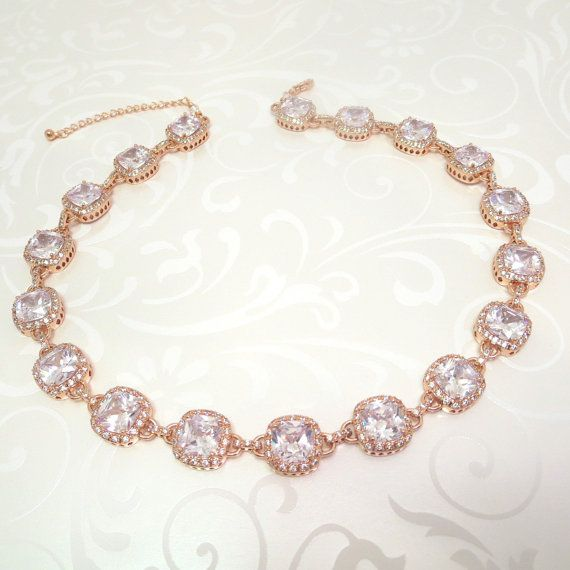 Rose gold Bridal necklace Rose gold statement by TheExquisiteBride