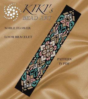 $ Bead loom pattern Noble flower LOOM bracelet pattern in PDF