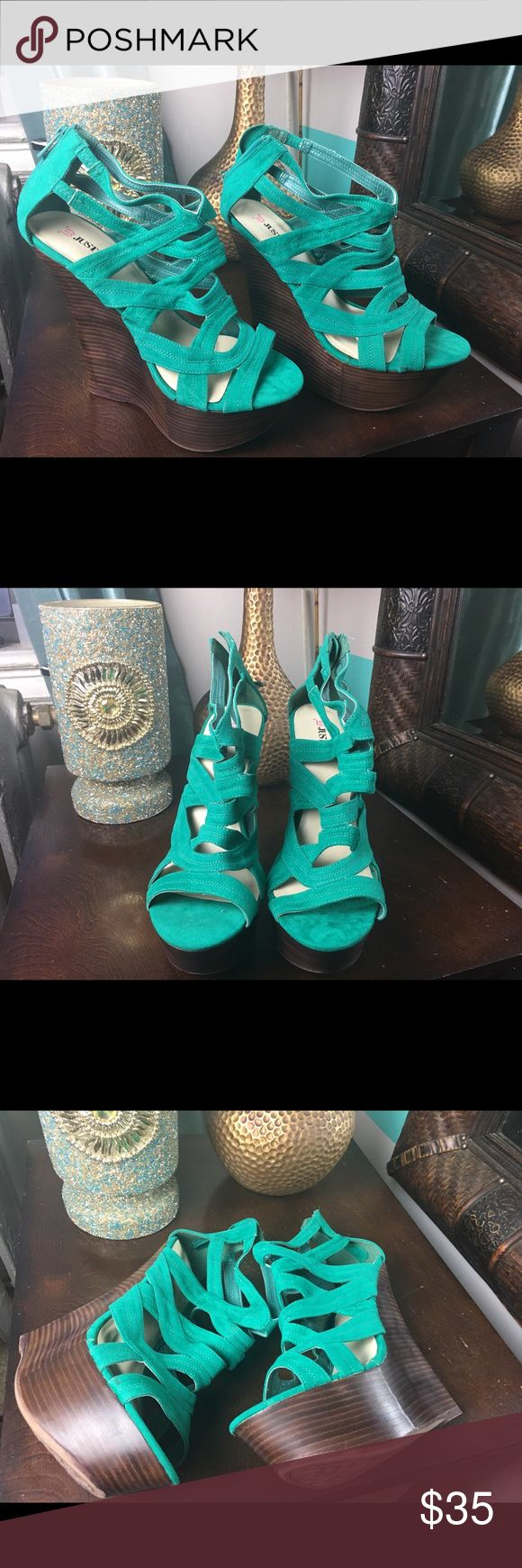 Turquoise wedges These wedges featuring back zip, man made sole, straps, wood wedge. They will finish off any outfit with ultra chic style. Only worn in house. JustFab Shoes Wedges