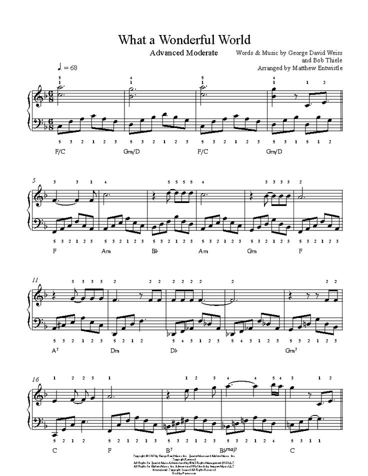 What A Wonderful World by Louis Armstrong Piano Sheet Music | Advanced Level