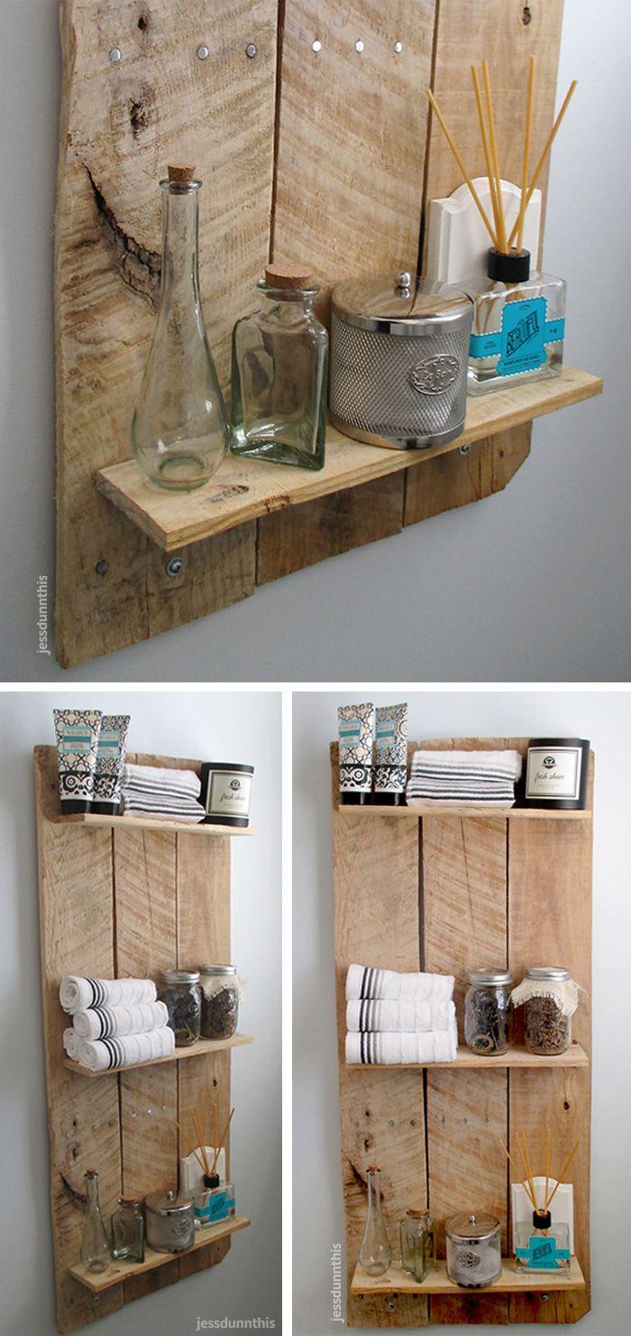 Diy reclaimed wood bathroom shelves edea smith - Reclaimed Wood Shelf Product_design Furniture_design