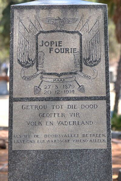 Headstone on the grave of Jopie Fourie in the Church Street Cemetery, Pretoria, South Africa.