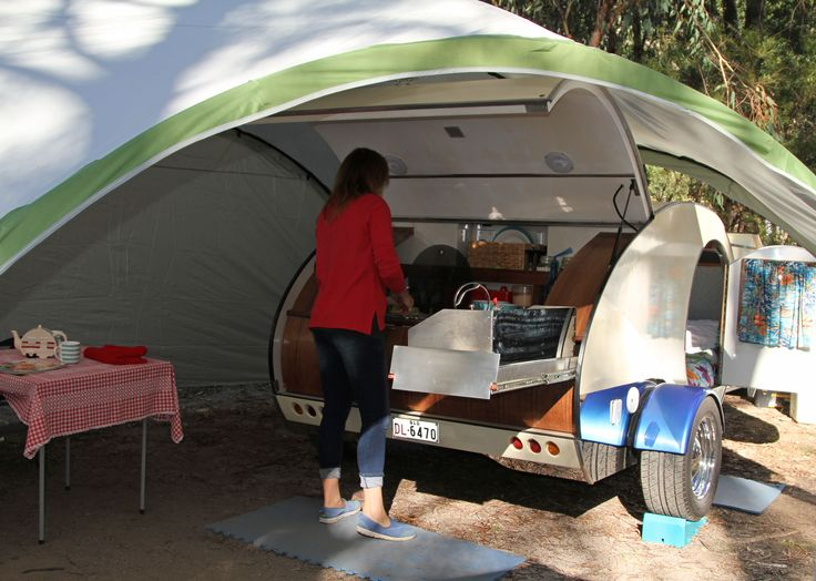 Gidget Retro Teardrop Camper Enjoying Cooking Whilst