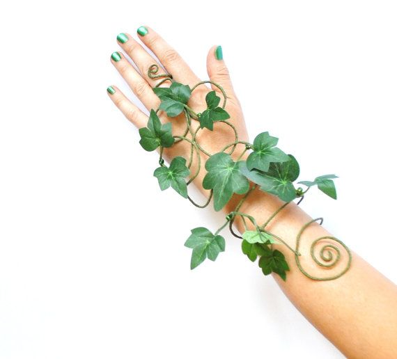 Poison ivy arm cuff slave bracelet leaves and vine whimsical woodland fancy dress costume