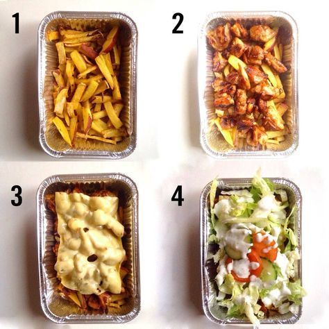 Gezonde versie van de kapsalon. Veel minder vet en meer eiwitten! Zoete aardappel als friet, kipreepjes als kebakvlees, en zelfgemaakte knoflooksaus.