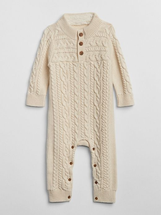 ef9c2f7abd74 Gap Baby Cable-Knit One-Piece French Vanilla