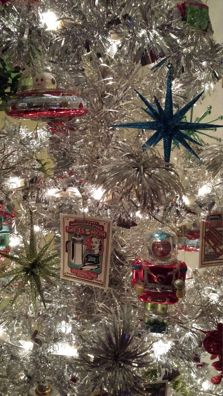 Vintage Aluminum Christmas Tree With Blue Ornaments - Tinselmania 221 vintage aluminum christmas trees