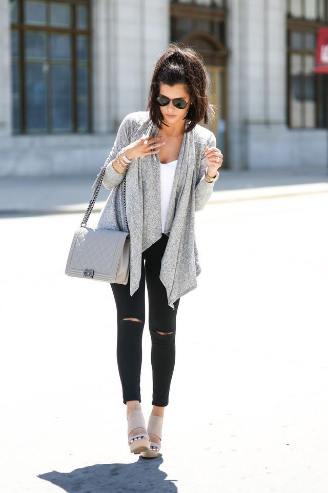waterfall cardigan in gray