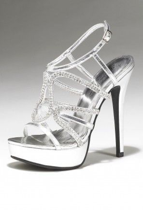 Camille La Vie Silver Platform Heels with Rhinestones - perfect for Prom #promshoes