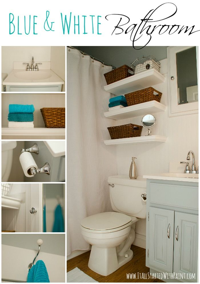Blue and White Bathroom Makeover by @Linda @ it all started with paint blog