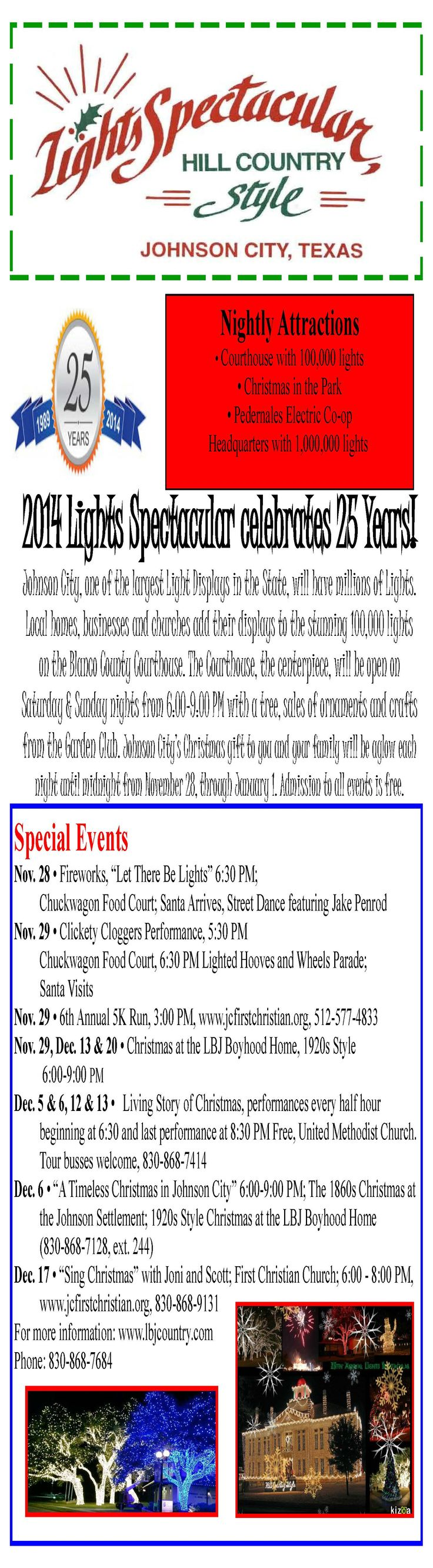 25th Annual Lights Spectacular schedule of events!