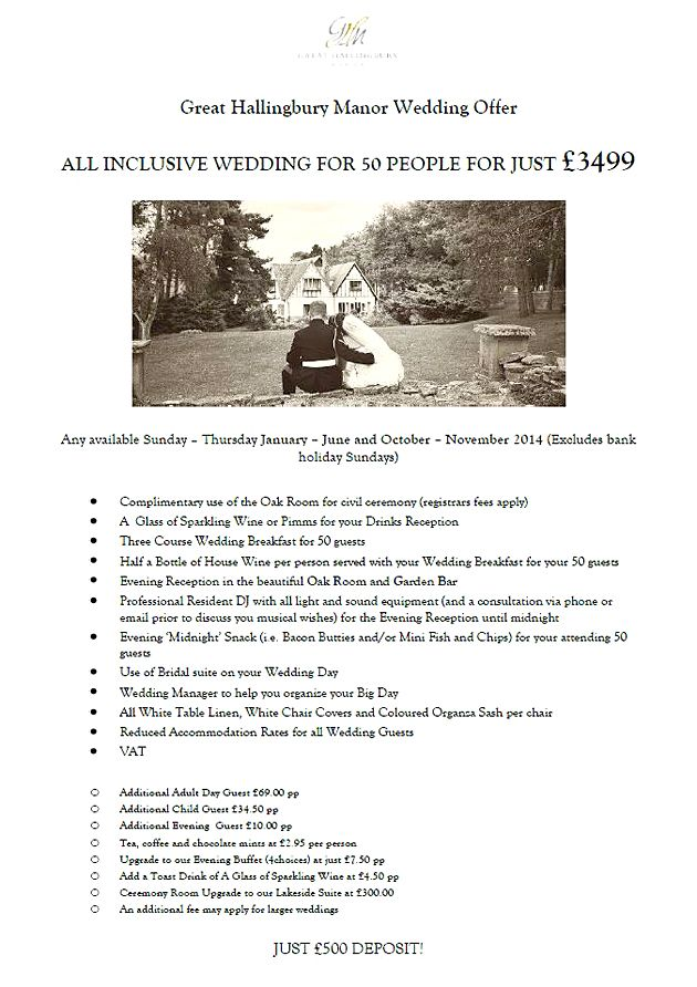 By Legacy Great Hallingbury Manor @GHMhotel @Legacy_hotels A fantastic offer for 2014 weddings, and for a limited time only we have some selected Fridays and Saturdays available! Please contact our events office on 08444 119 068 for more details! http://www.legacy-hotels.co.uk/legacy-greathallingbury/