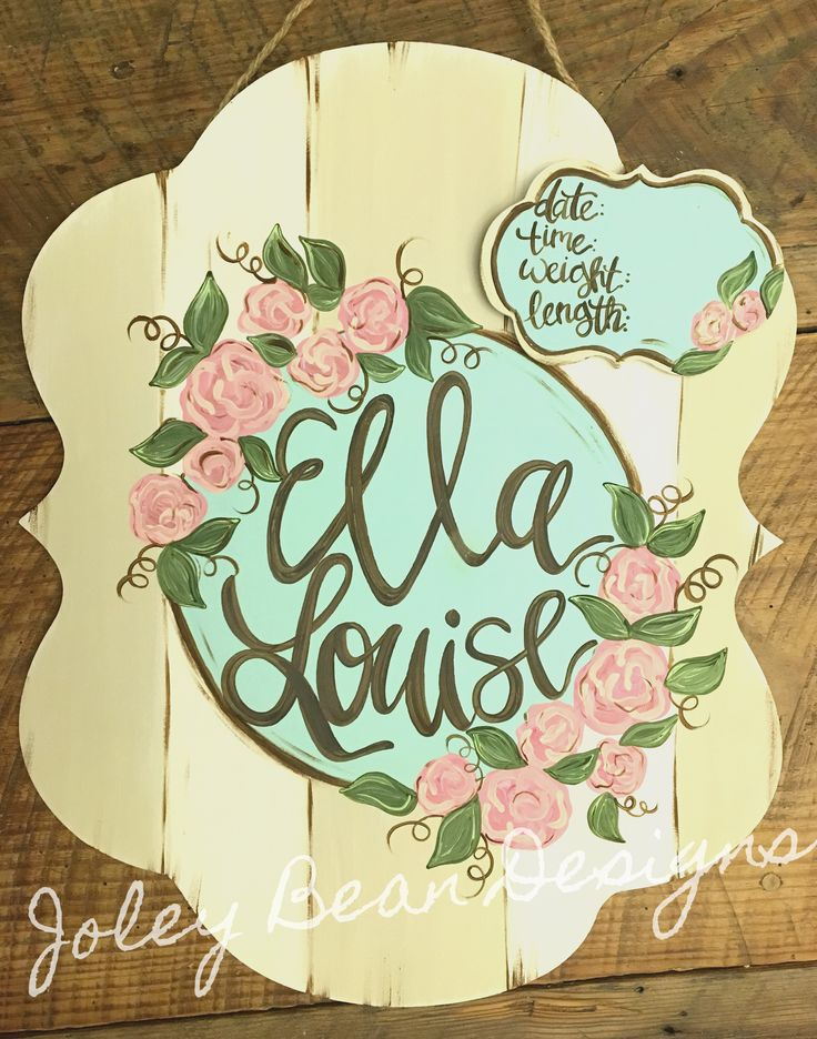 Floral hospital door hanger, Joley bean designs