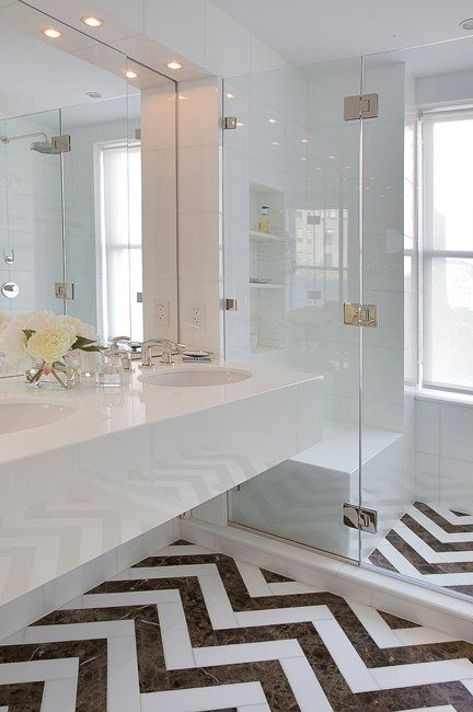 Chevron bathroom floor tile