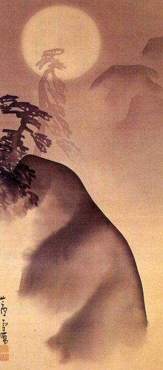 Landscape in the moonlight - Nagasawa Rosetsu, 1755-1799 Japan 長沢芦雪
