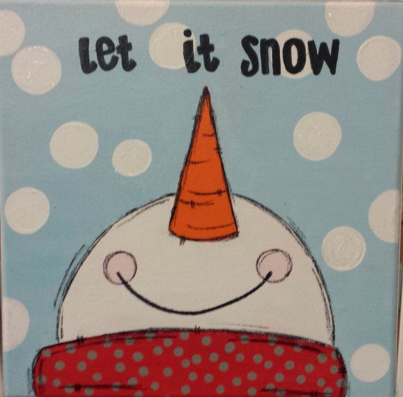 Snowman Winter Canvas by WHIMSYandSWEET on Etsy