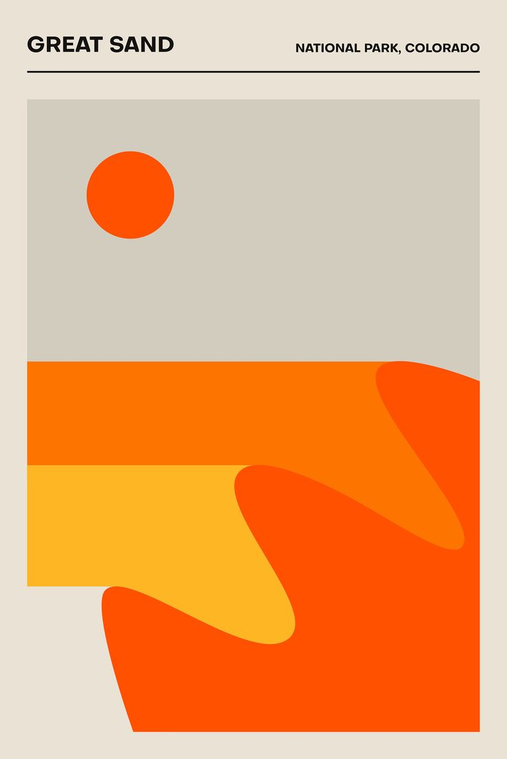 Great Sand, National Park Colorado – Poster – Minimalist Print | Travel Poster | Printed Poster | Geometric | Home Decor | National Parks