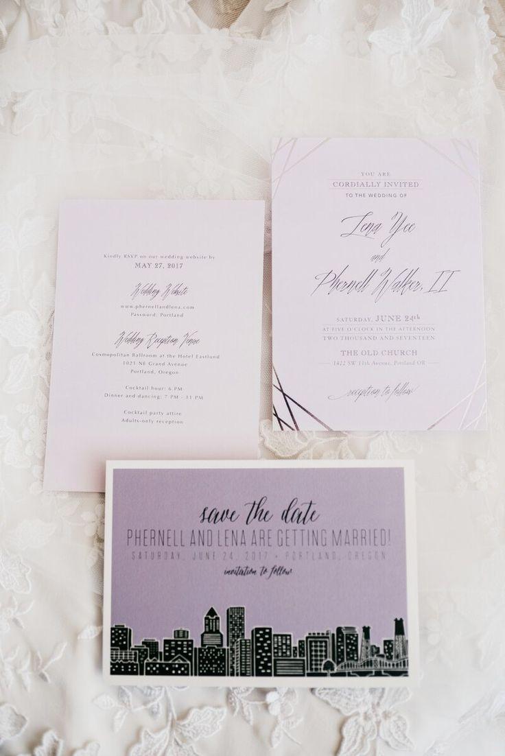 Modern Portland Wedding- portland skyline wedding invitation