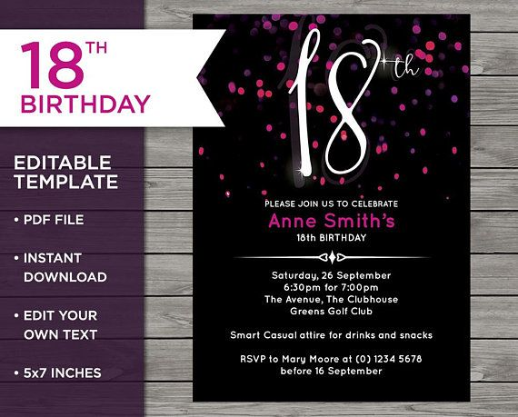 Pink 18th Birthday Invitation Template Editable Invite