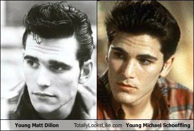 Young Matt Dillon Totally Looks Like Young Michael Schoeffling (Outsiders and Sixteen Candles. Knew they looked the same!)