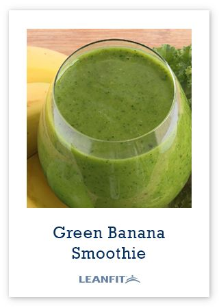 Green Banana Smoothie -- Made with LeanFit completegreen protein, almond milk and greens. So easy to make
