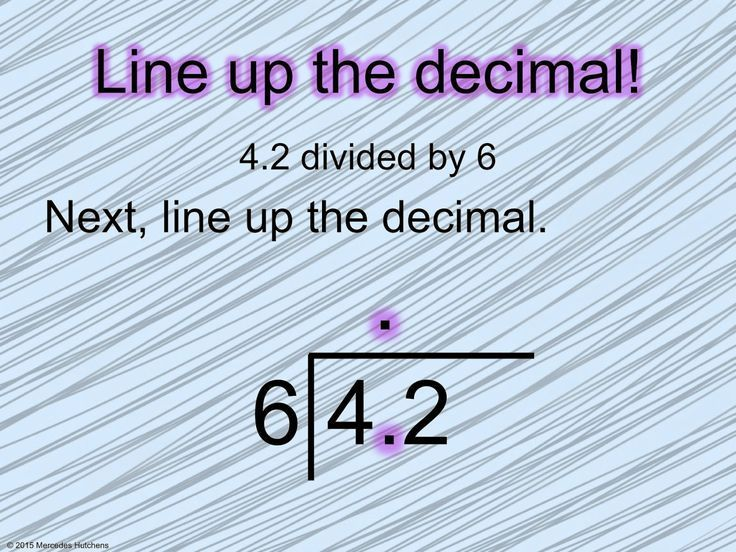Dividing Decimals- line up the decimal when it is inside the 'house'