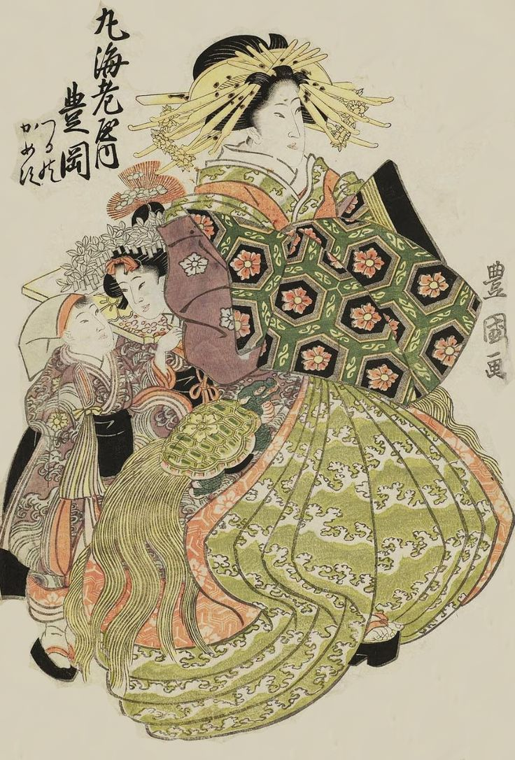 Toyooka of the Maru-Ebiya. Ukiyo-e woodblock print.  About 1800,  Japan.  Artist Utagawa Toyokuni I