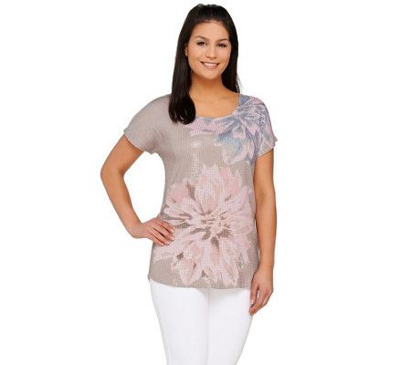 Kelly by Clinton Kelly Floral Printed Sequin Top