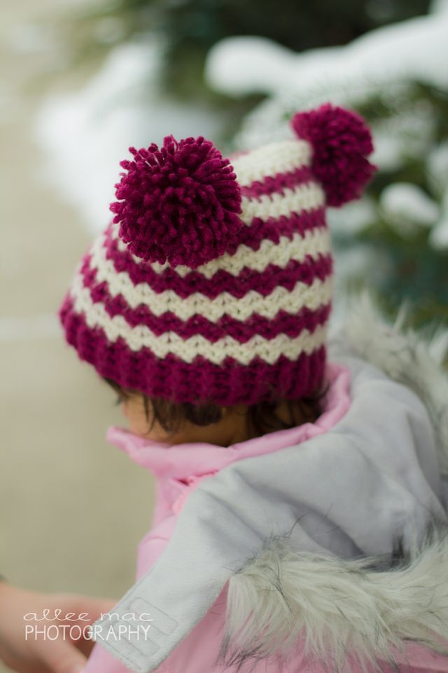 Chevrons and Pom-Poms Hat - CROCHET PATTERN - beanie by Bowtykes