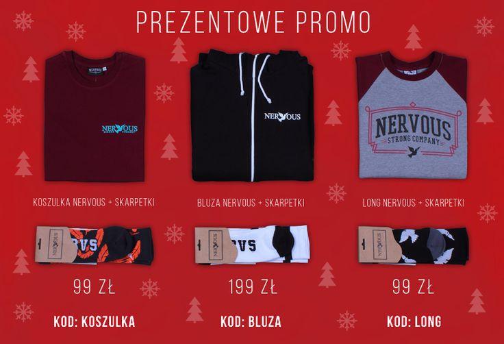 Świąteczno-prezentowe promo. Koszulka + skarpetki 99 zł / bluza zip + skarpetki 199 zł / longsleeve + skarpetki 99 zł. Dostepnę w sklep.nervous.com.pl oraz w sklepach stacjonarnych w Łodzi na P80 i P44. Także HO! HO! HO! Szczegóły w linku. http://sklep.nervous.com.pl/Prezentowe-promo-cinfo-pol-34.html