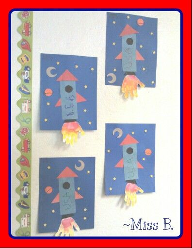 Simple Rocket Ship/Space craft. Our toddler room used this craft to practice our shapes also!